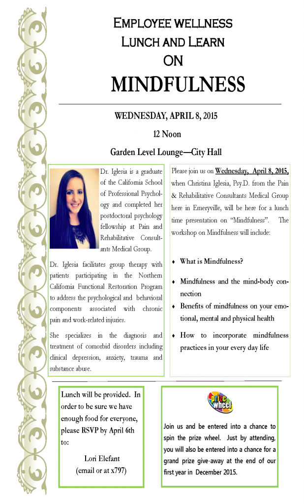 Flyer 1 for April 8th  2015 Lunch and Learn